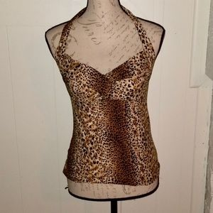 Bust Pinup Leopard Halter Top